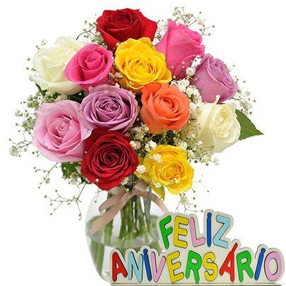 delicado de rosas feliz aniversário giuliana flores