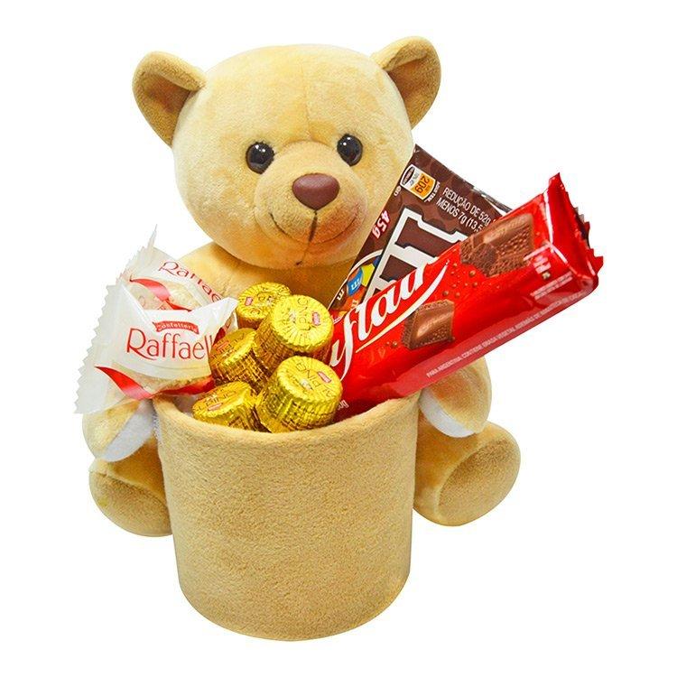 Pelúcia de Urso com Chocolates