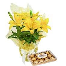 Lírio Amarelo Plantado e Ferrero Rocher