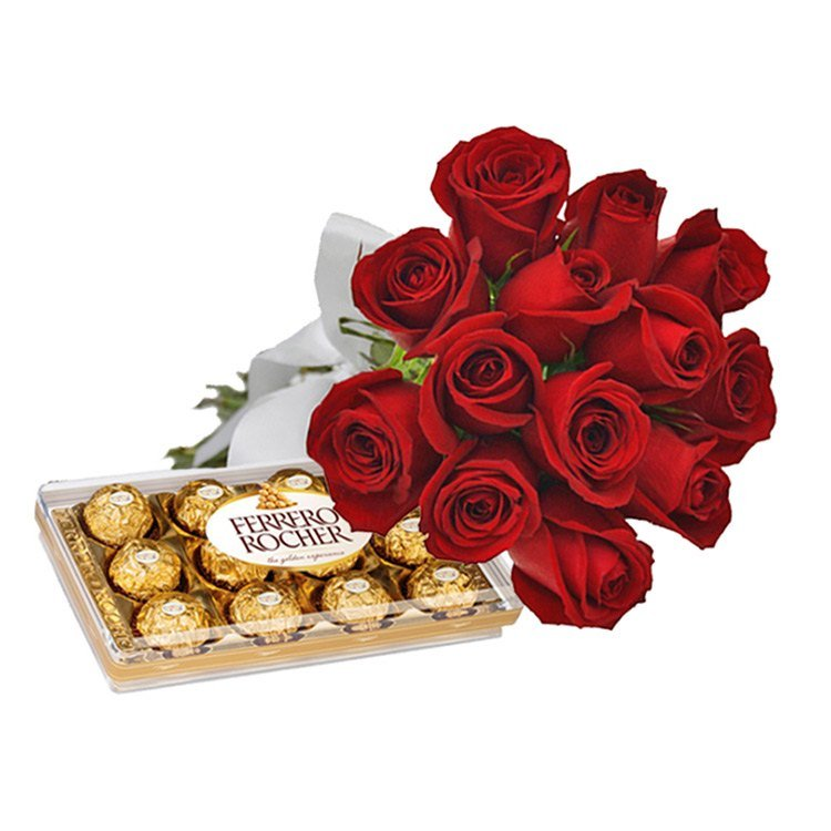 Buquê de 12 Rosas Vermelhas e Ferrero