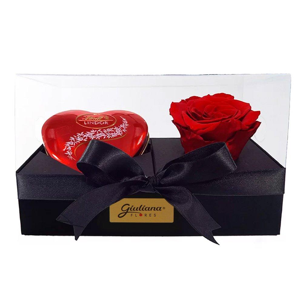 Caixa Presente Rosa Encantada e Coração Lindt