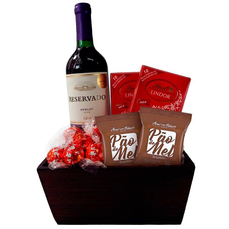 Kit Delícias Chocolates e Vinho