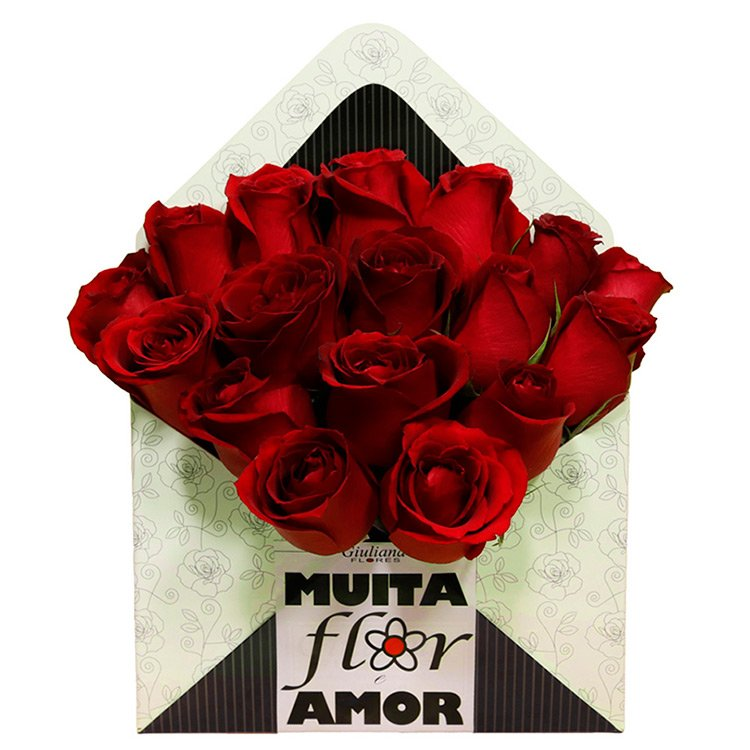 Envelope de Rosas Vermelhas Muita Flor e Amor