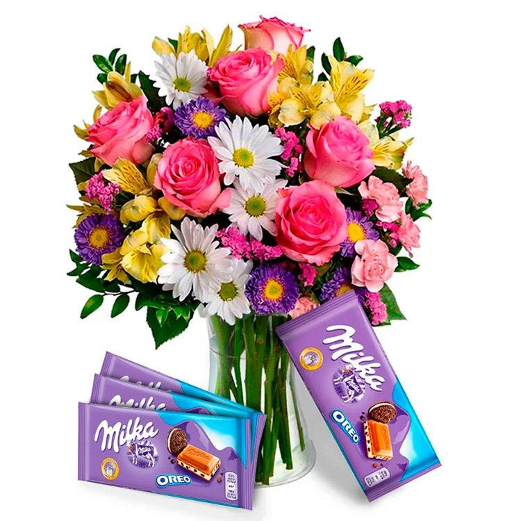 Mix de Flores Coloridas e Chocolate Milka