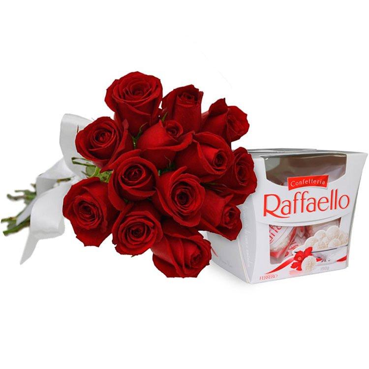 Buquê de 12 Rosas Vermelhas e Rafaello
