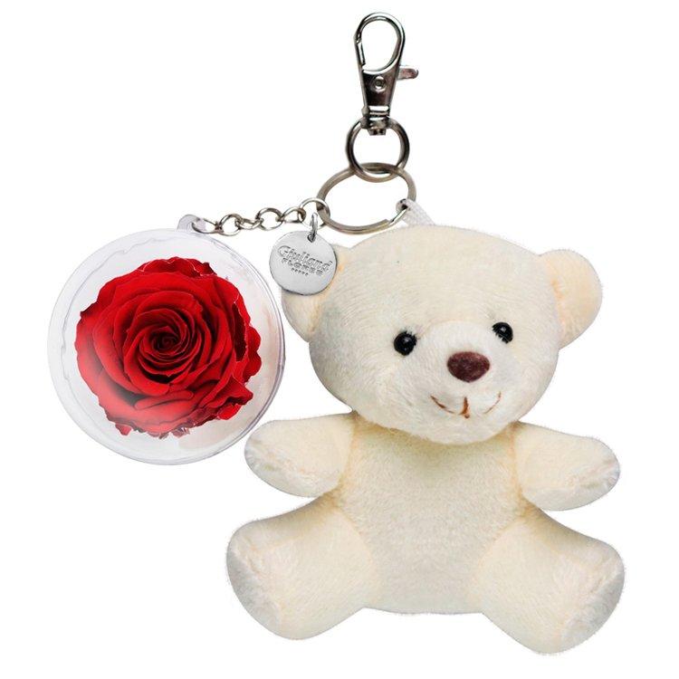 Chaveiro Urso Bege com Rosa Vermelha