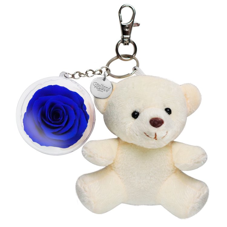 Chaveiro Urso Bege com Rosa Azul Marinho
