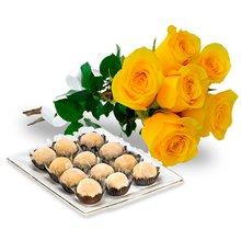 Buquê com 6 Rosas Amarelas e Brigadeiro Branco Amor aos Pedaços