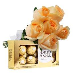 Buquê de 6 Rosas Champanhe e Ferrero