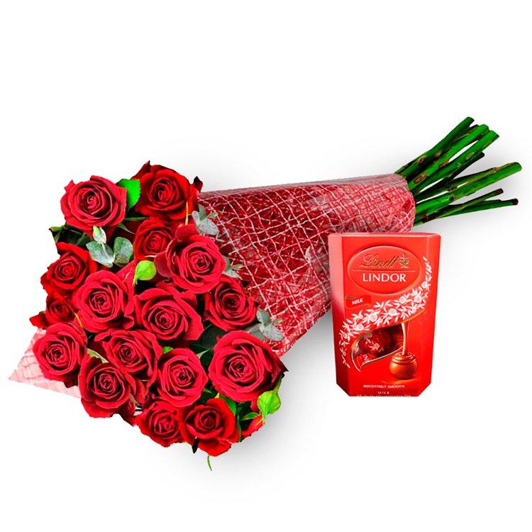 Buquê de Flores Florence Vermelho e Bombom Lindt