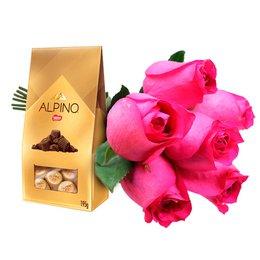 Buquê de 6 Rosas Pink e Chocolate Alpino