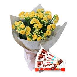 Vaso de Kalanchoes Amarelo com 03 Chocolates Kinder Bueno