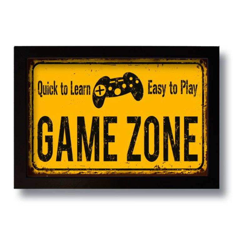 Quadro Decorativo Geek Game Zone  33x43 cm