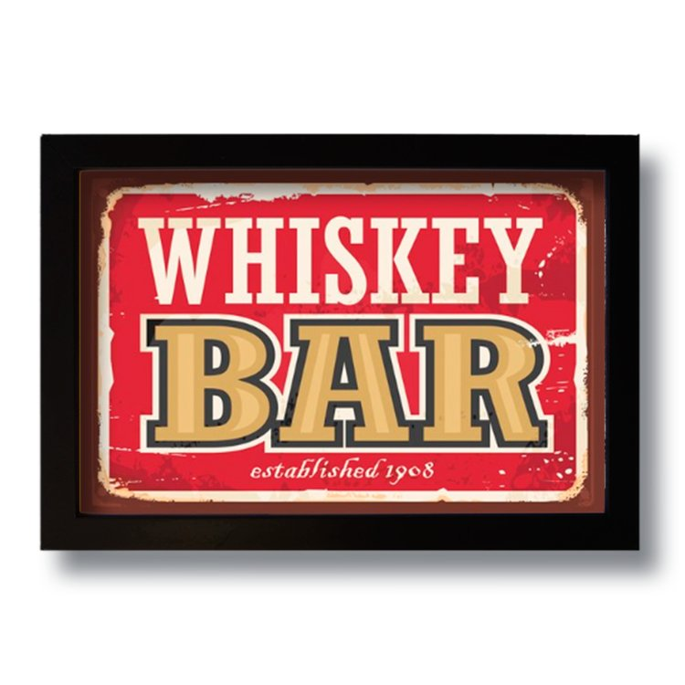 Quadro Decorativo Vintage Bar Whiskey  33x43 cm
